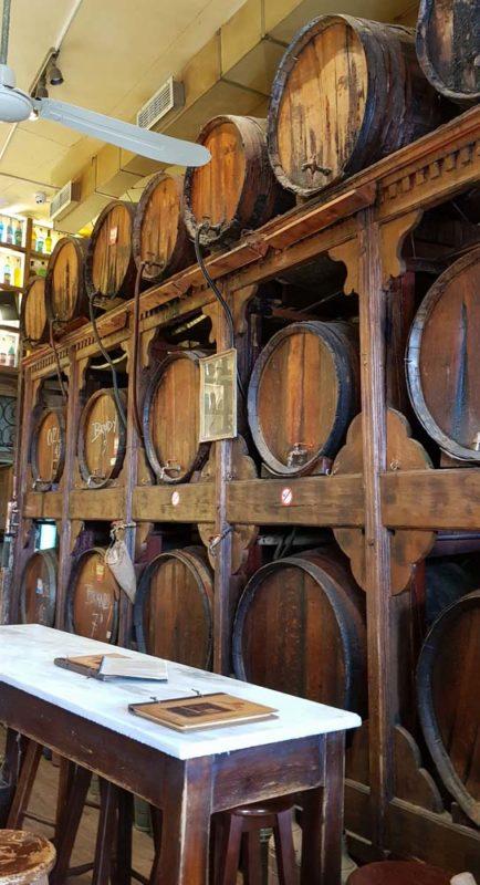 The wooden casks of raki at brettos Wine bar Athens