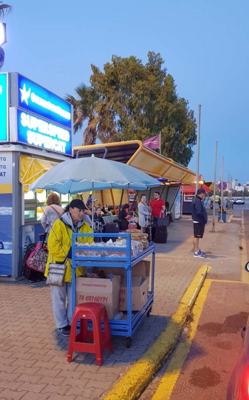 Bread seller early morning in Pireus