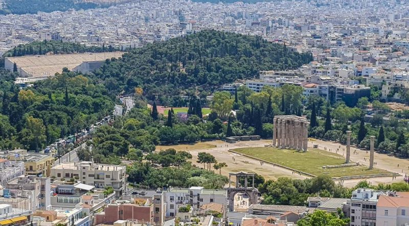 Looking at Athens form the Acriololis to Haidrians arch