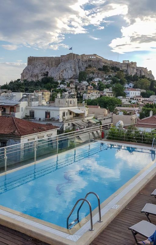 The pool and bar from the Electra Metropolis Hotel Athens