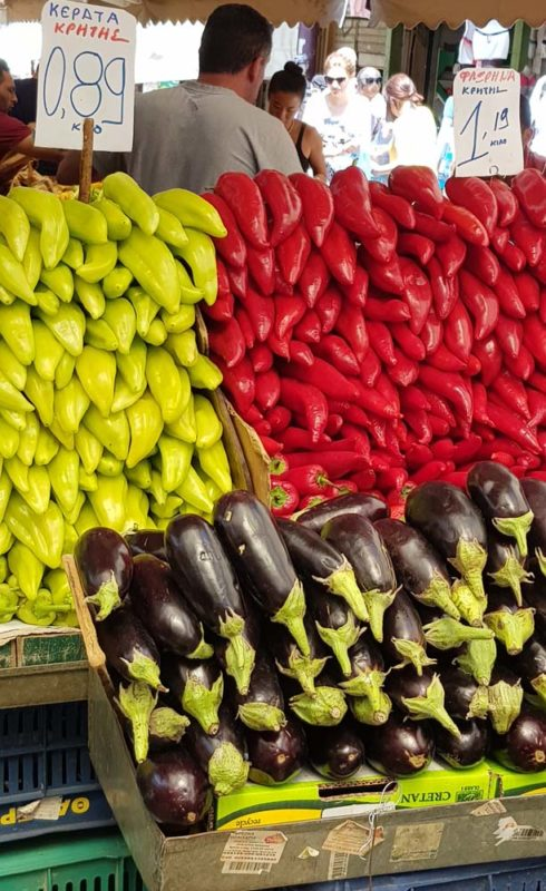 Colourful fruit and vegetables at the market in Athens