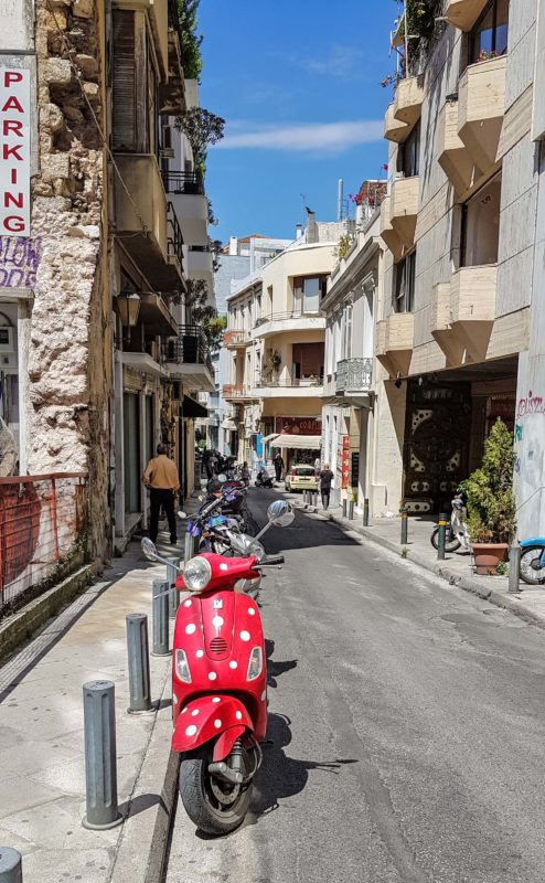 A spotty red scooter on Apollonos street in Plaka.