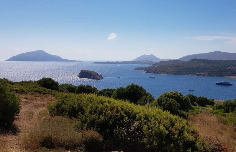 The views across blue water from Cape Sounion, Greece