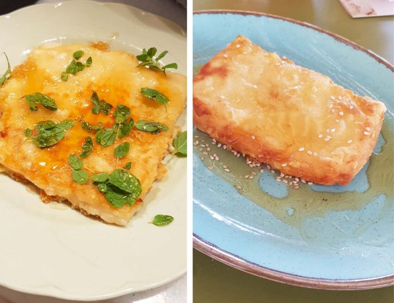 Saganaki or fried cheese of Greece two versions