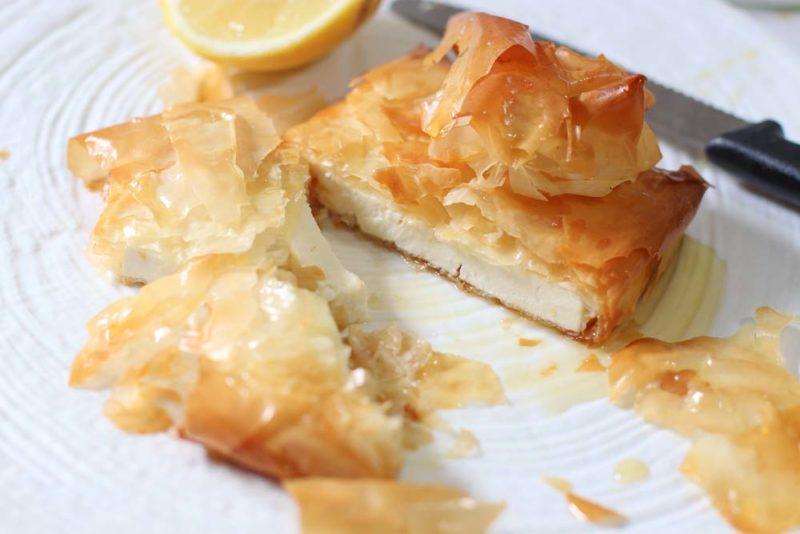 Greek Feta filo pie with honey