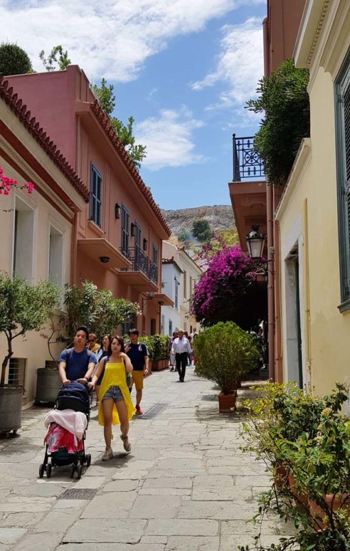 A street scene of Plaka in Athens