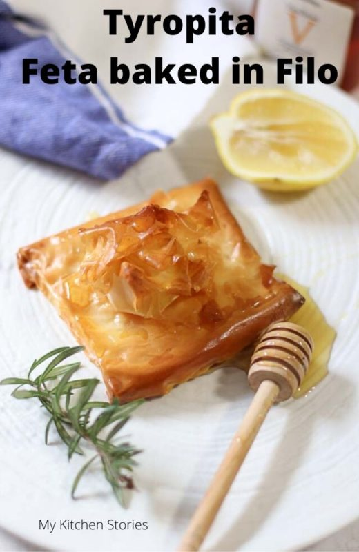 Baked Filo with feta  and honey