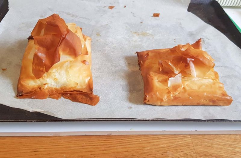 Filo straight from the oven. Golden and baked with feta