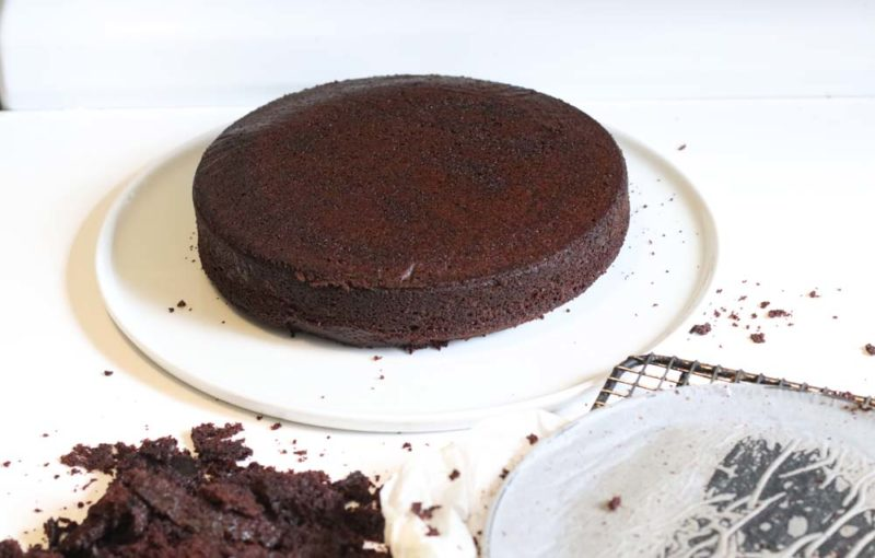 Chocolate cake with the top cut off