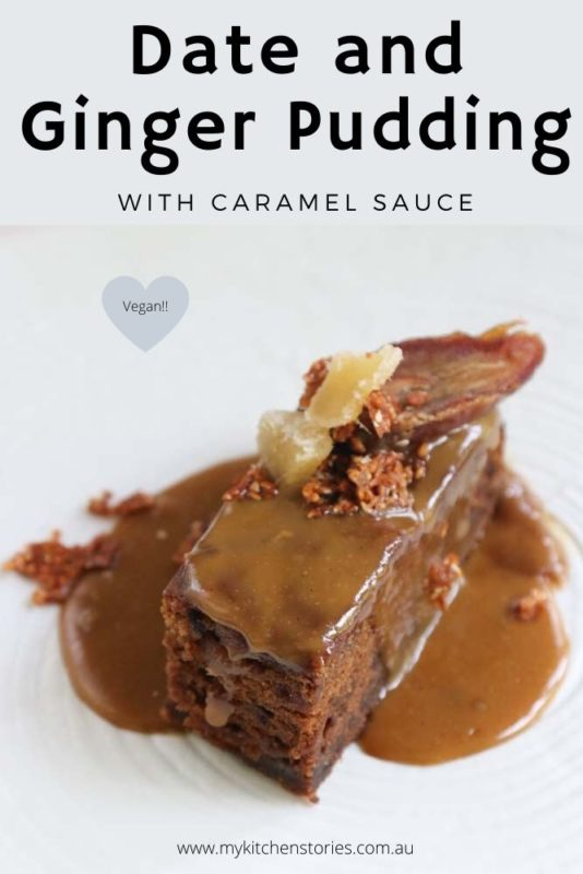 Vegan date pudding with caramel sauce on a white plate