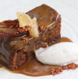 date Pudding with caramel tahini sauce