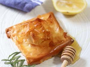 'Feta baked in filo till golden and served with honey