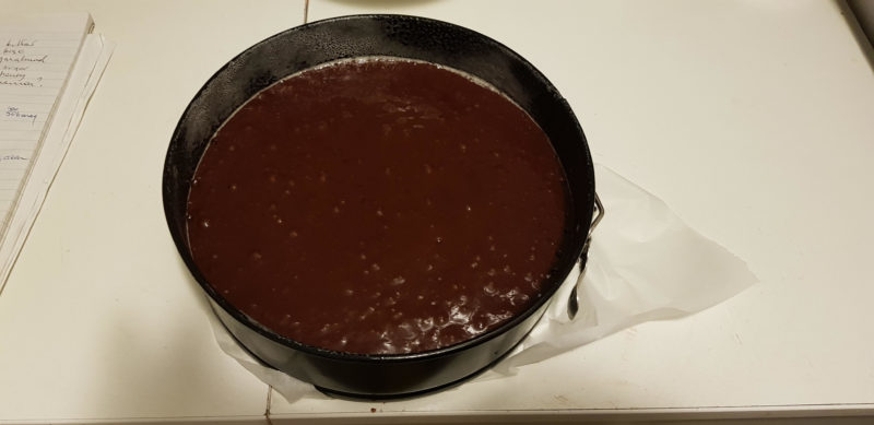 Chocolate Cake batter in a cake tin