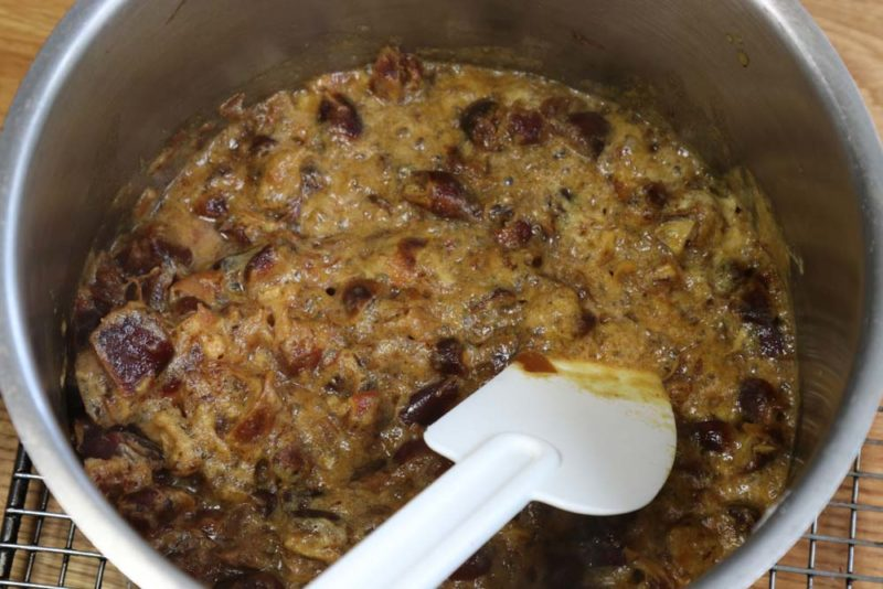 date pudding mixture mixed with almond flour