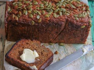 Banana loaf with pepitas