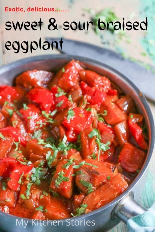 Eggplant braised with sweet and sour flavours in a saucepan