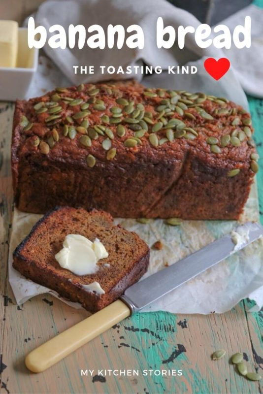 Banana Bread cut and smothered in butter
