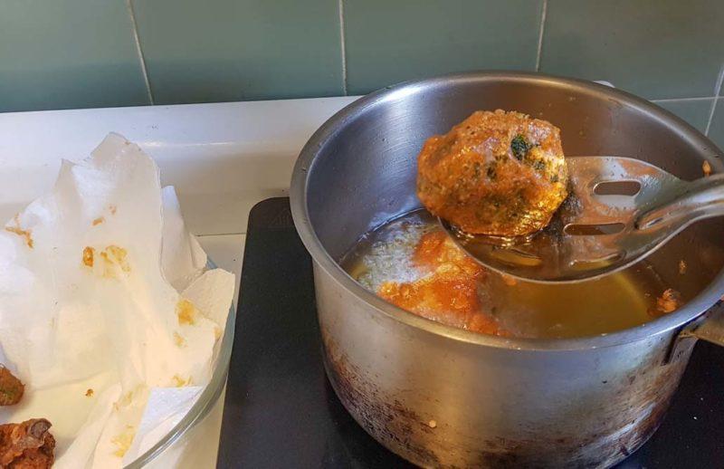 Vegetables that are fried till crispy in vegan batter