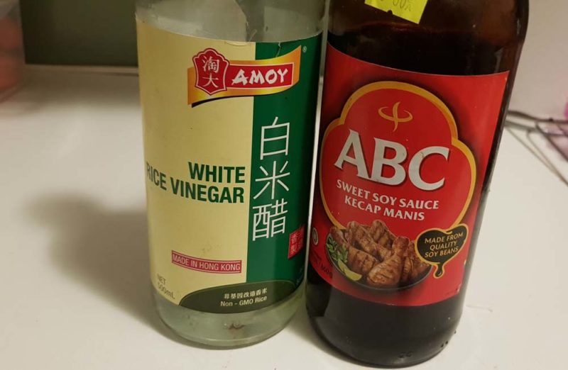 2 asian sauces. Sweet soy and rice vinegar