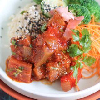 Vegan Braised eggplant and vegetable bowl