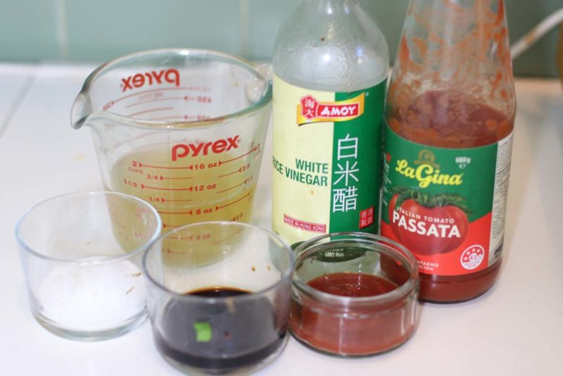 A selection of ingredients to make Singapore chilli sauce