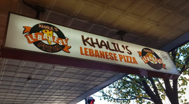 A sign for Khalils pizza in Bankstown