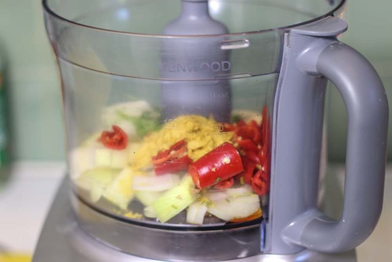 Chilli paste ingredients in a food processor