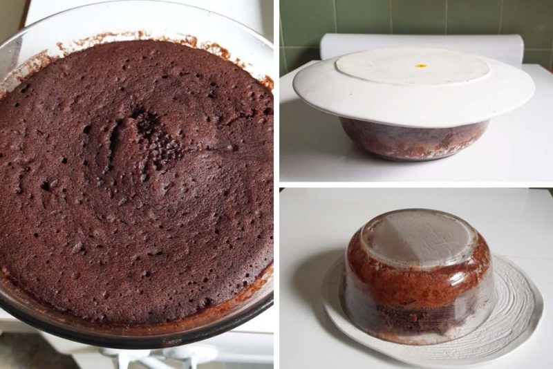 The micro wave cake cooked and how to turn it out