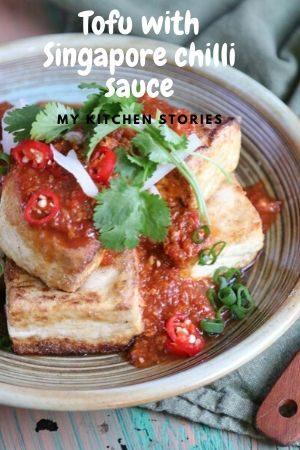 Tofu with chilli sauce and coriander