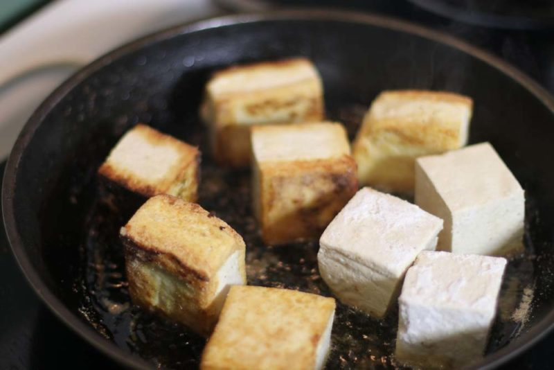Tofu is ready to be fried