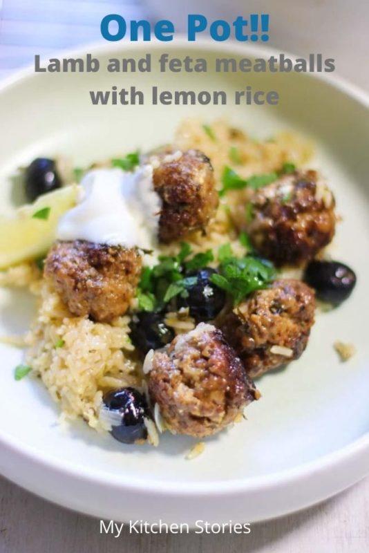 Lamb and feta meatballs in a white plate with rice