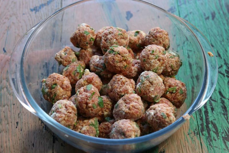 lamb and feta meatballs in a bowl