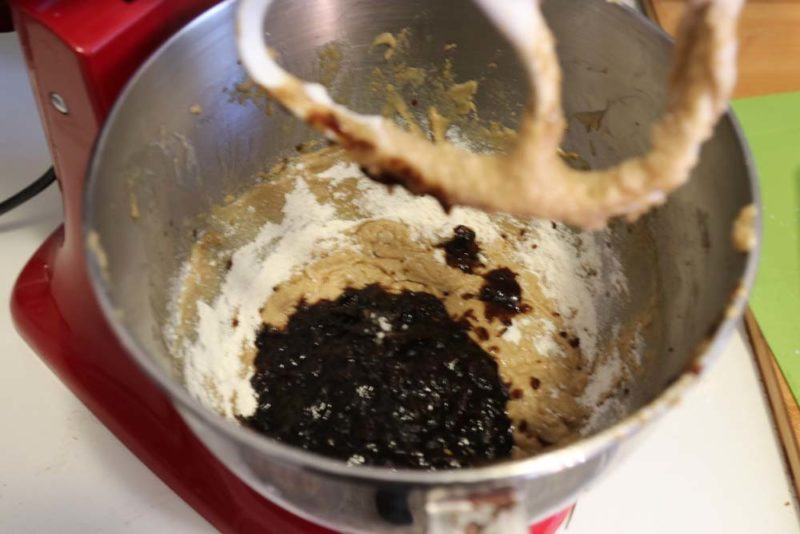 Adding pureed dates to the creamed butter and sugar