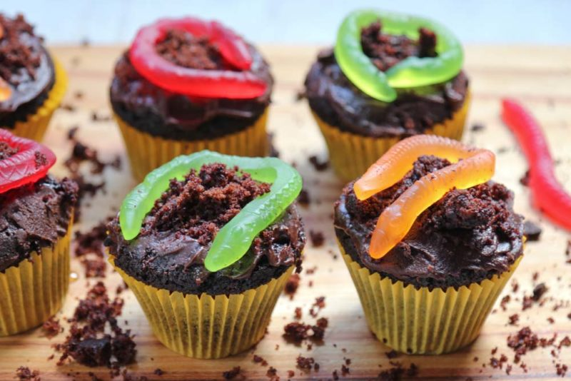 Cupcakes with jelly snakes and chocolate dirt