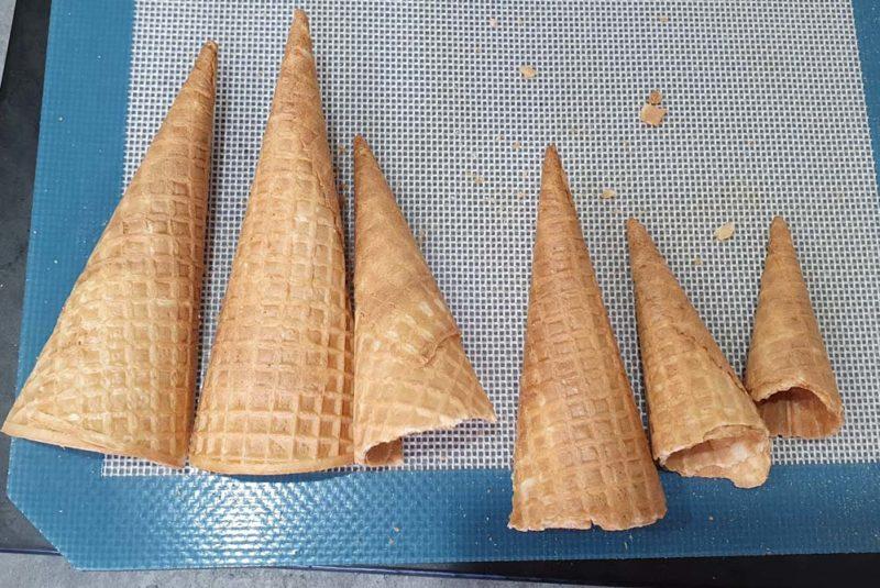 Ice cream cones cut for a cake