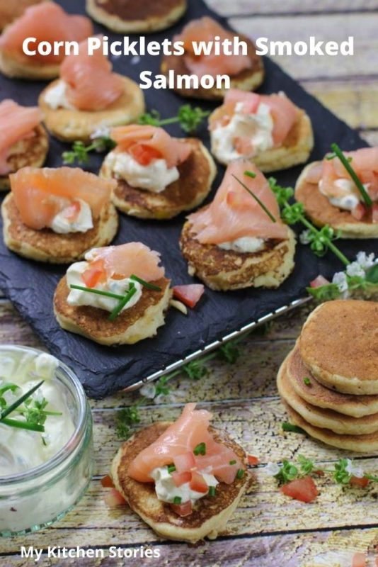 Corn Picklets with smoked salmon