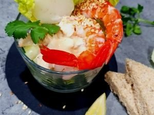 Prawn Cocktails with Black Vinegar and sesame