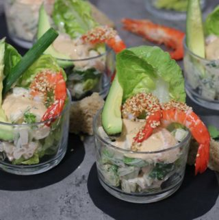 Prawn cocktails in glasses with toasted sesame seeds