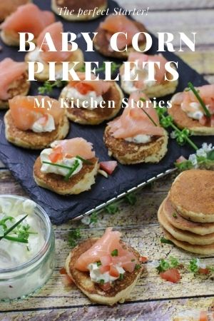 Little corn pikelets with smoked salmon