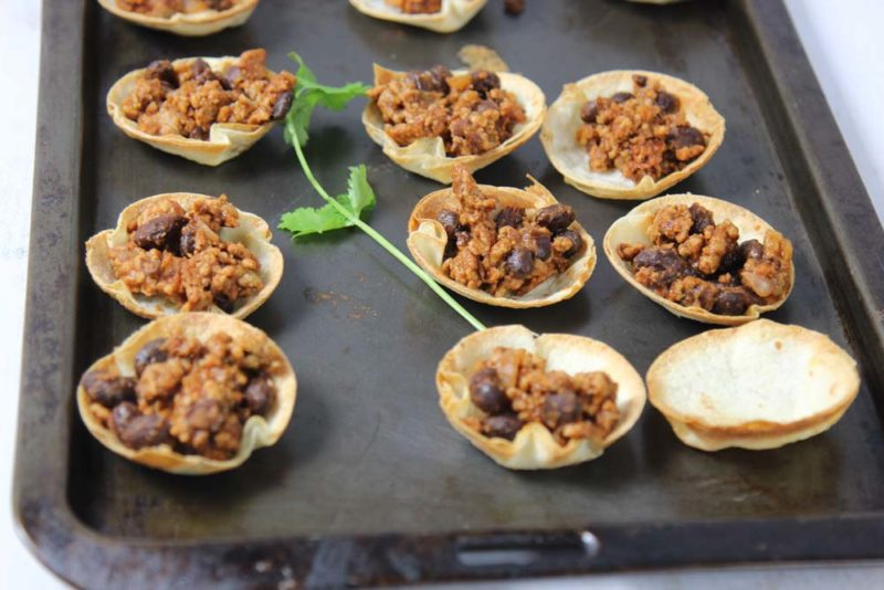 Little tortilla cups on atray