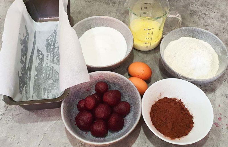 Ingrediens to a make a chocolate beetroot cake