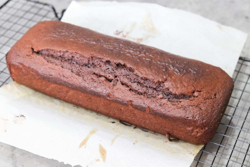 Chocolate and beetroot loaf cake on baking paper
