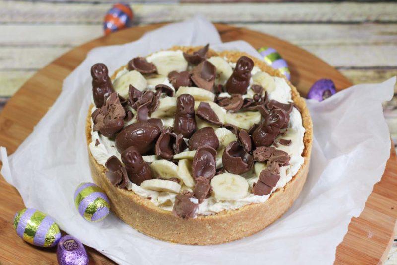 Easter caramel, chocolate and caramel tart