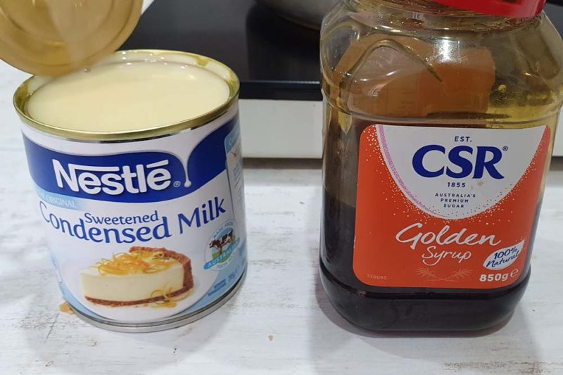 Golden syrup and condensed milk. two of my favourites