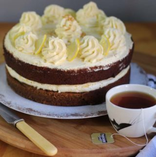 Tea cake with a cup of tea