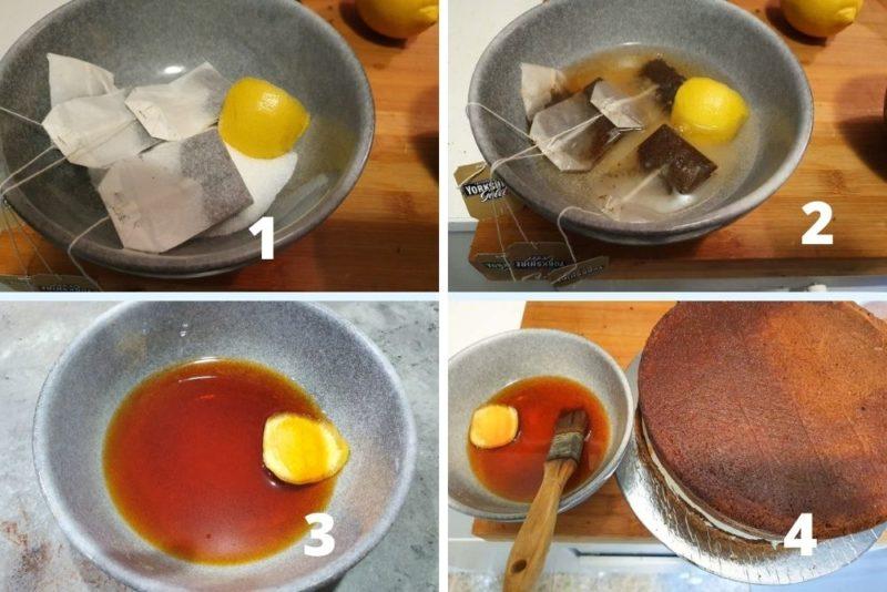 making tea and lemon syrup