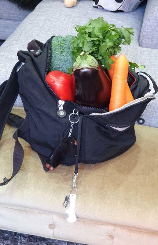 A backpack full of vegetables