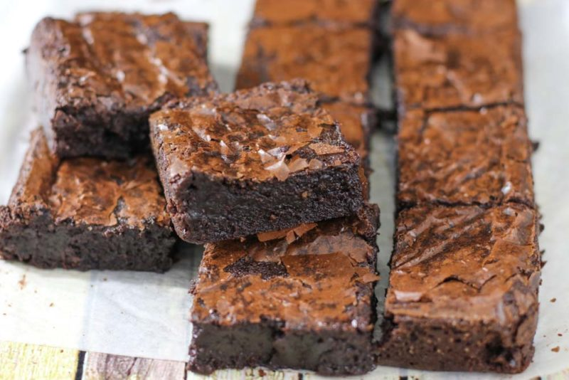 Sliced up and ready to eat a try of gluten free brownies