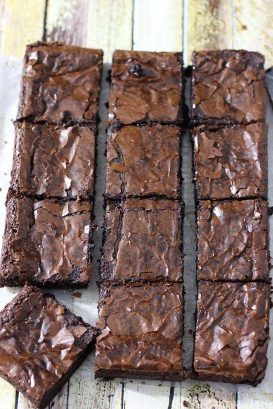 A slab of cut brownies