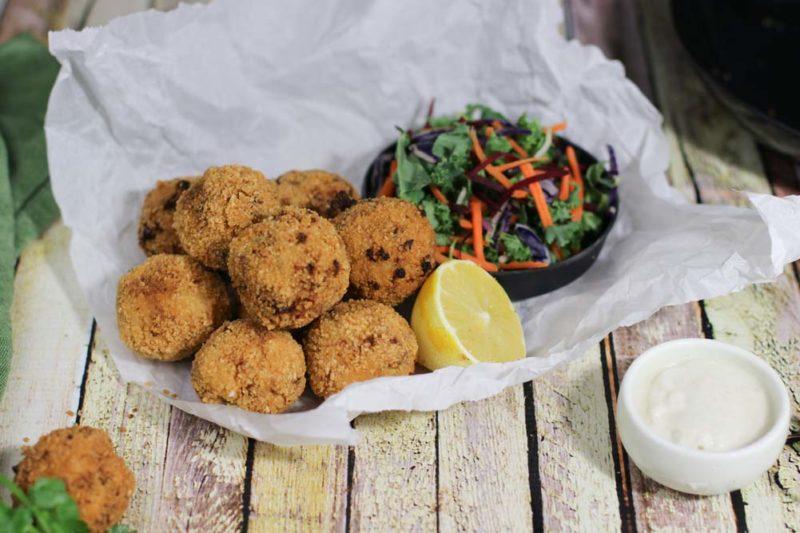 cauliflower cheese balls, vegan crumbed